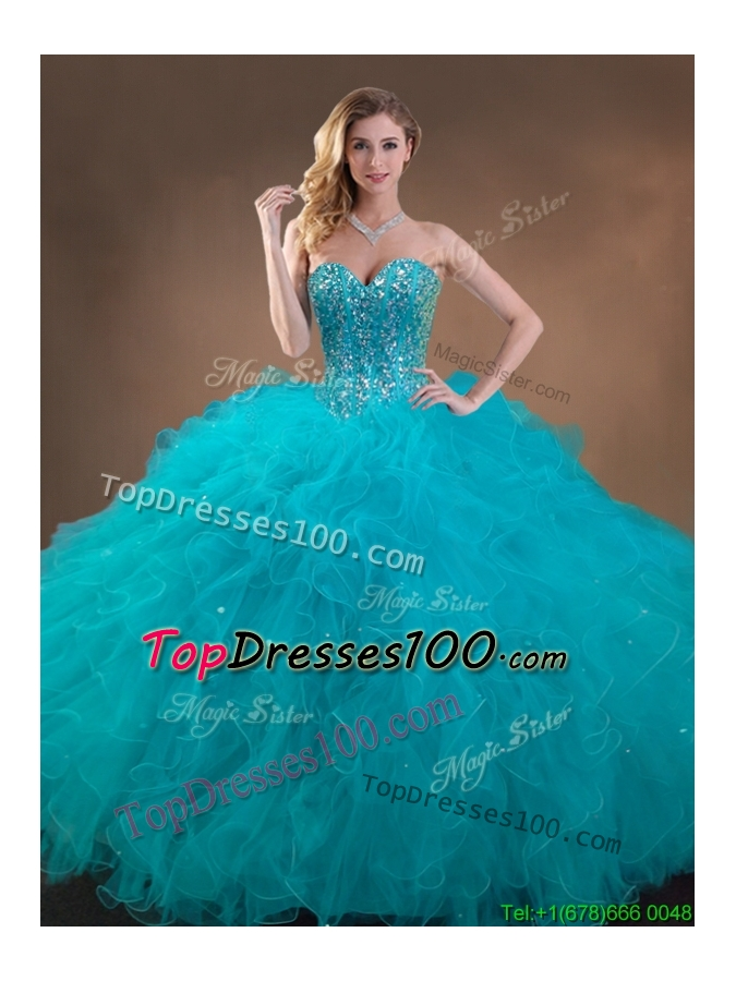 2016 Big Puffy Teal Sweet 16 Gown with Beading and Ruffles