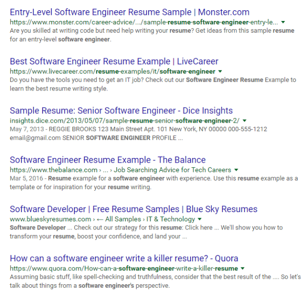 google software engineer resume example