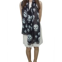 SODIAL(R) Ladies Fashionable Punk Pirate Skull Chiffon ...