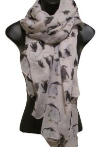Unusual Cute Penguin Print White Lightweight Scarf - Top ...