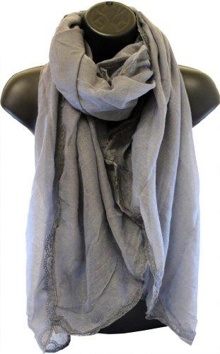 Yufashion Plain Lace Print Long Shawls Scarves Wraps