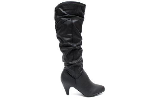 F10265a Womens Black Winter Slouch Fashion Tall Knee High