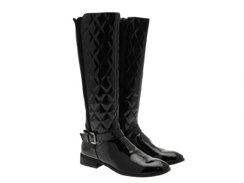 New Womens Quilted Elasticated Wide Calf Flat Heel Riding