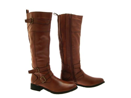 New Womens Strappy Buckle Flat Heel Biker Riding Boots