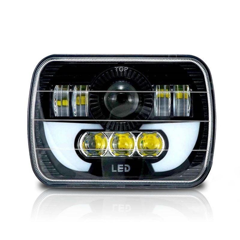 7x6 (5x7) H6054 200mm LED Projector w/ Demon DRL Headlight Black (1