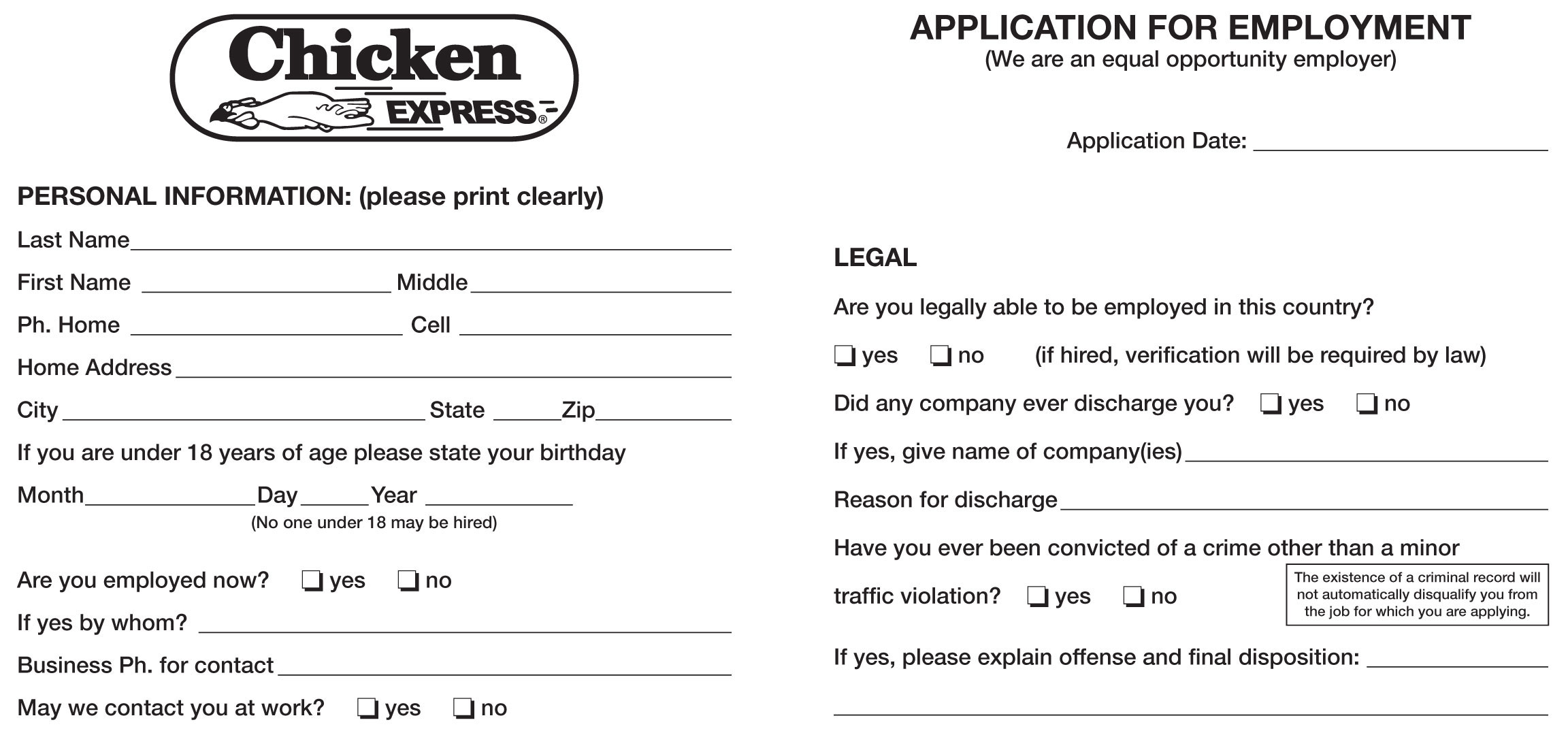 Free Printable Job Application Forms Search Apply Online Chicken Express Job Application Printable Job Employment