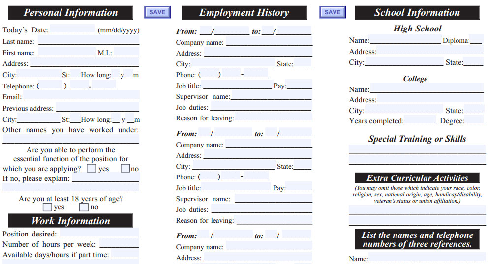 Port of Subs Job Application - Printable Job Employment Forms - printable application