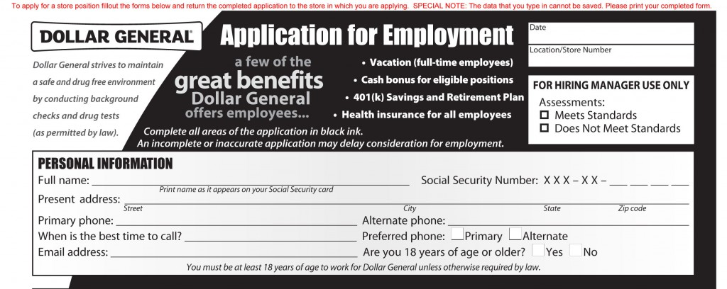 Dollar General Job Application - Printable Job Employment Forms - General Job Applications