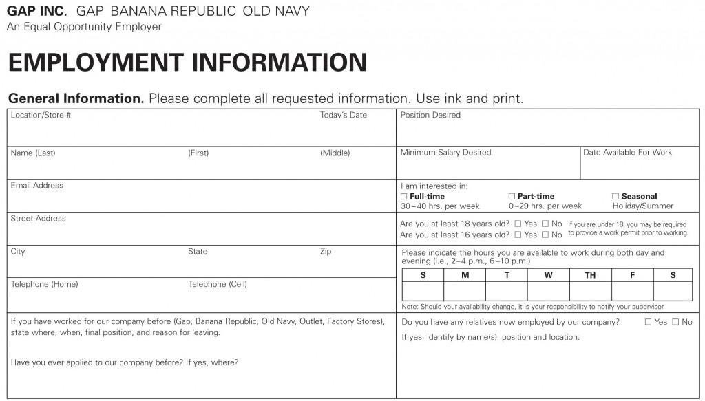 Old Navy Job Application - Printable Job Employment Forms - general job applications