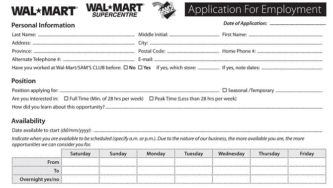 Walmart Job Application - Printable Job Employment Forms - Job Application