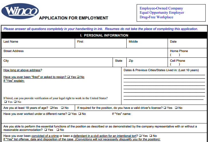 WinCo Foods Job Application - Printable Job Employment Forms - printable job application form