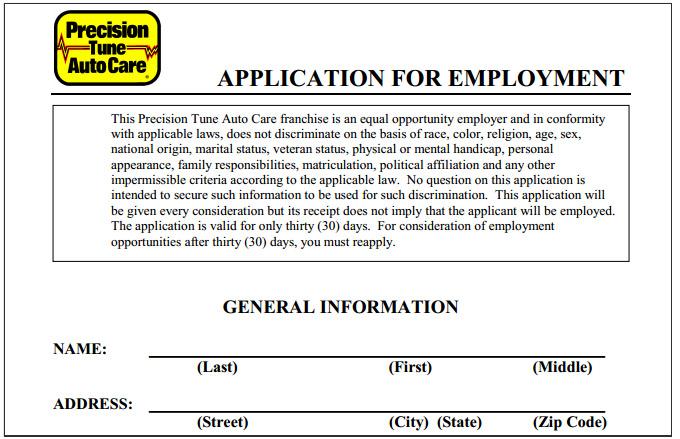 Mcdonalds Application Canada Jobs Careers Precision Tune Auto Care Job Application Printable Job