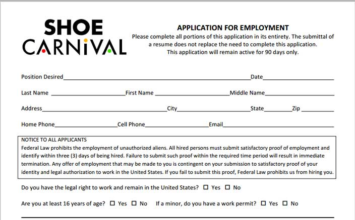 Shoe Carnival Job Application - Printable Job Employment Forms - printable application
