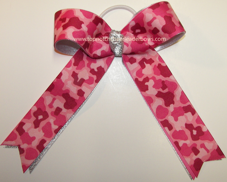 Camouflage Pink Ribbon Cheer Bow Hot Pink Camouflage Bow