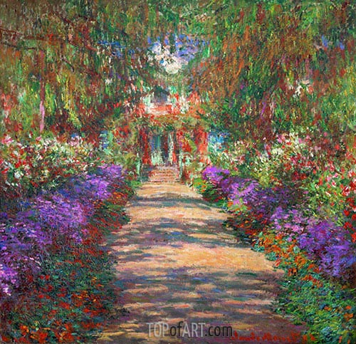 Pathway in Monet\u0027s Garden at Giverny Monet Painting Reproduction
