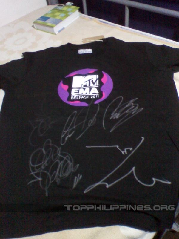 MTV EMA shirt autographed by Big Bang