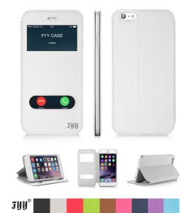 iPhone 6 Case, FYY Magnetic Cover Stand Case with Window View Function for Apple iPhone 6 White