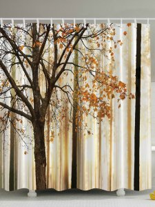 Fall Trees Print Polyester Fabric Shower Curtain