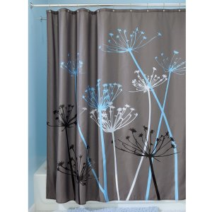 InterDesign Thistle Shower Curtain, 72 x 72-Inch, GrayBlue