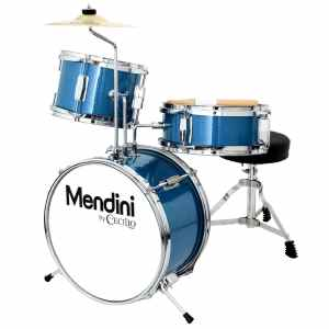 Mendini by Cecilio MJDS-1-BL 3-Piece Drum Set, Metallic Blue