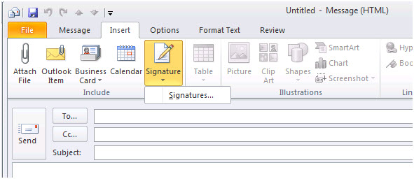 Adding a Market Snapshot Link to your Signature in Outlook 2010
