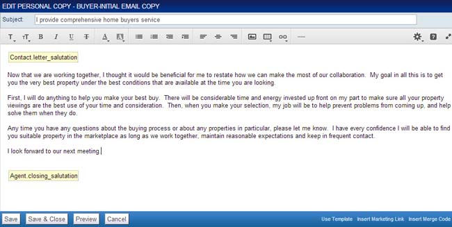 Editing a Personal Email Template « Top Producer Campus