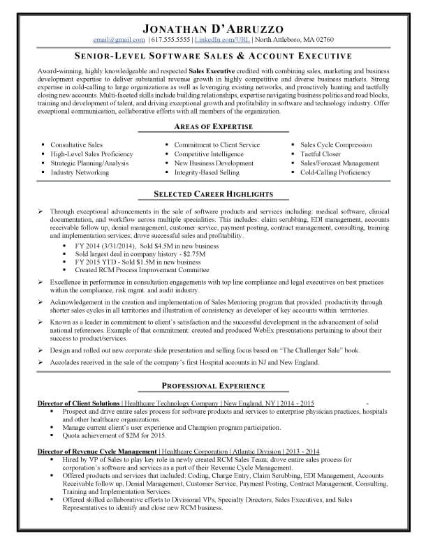 Sales Resume Writing Example Success Story TopResume