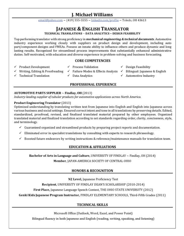 Translator Resume Writing Example Success Story TopResume - top resume skills