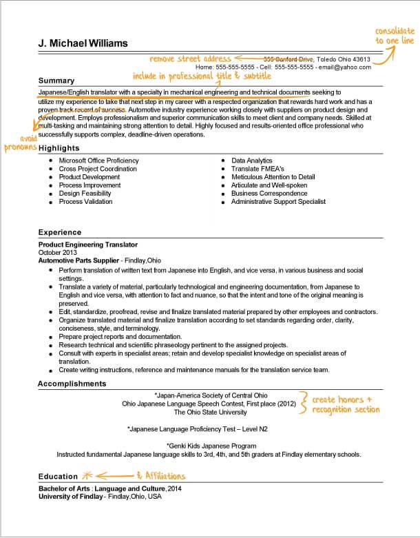 Translator Resume Writing Example Success Story TopResume - language proficiency resume