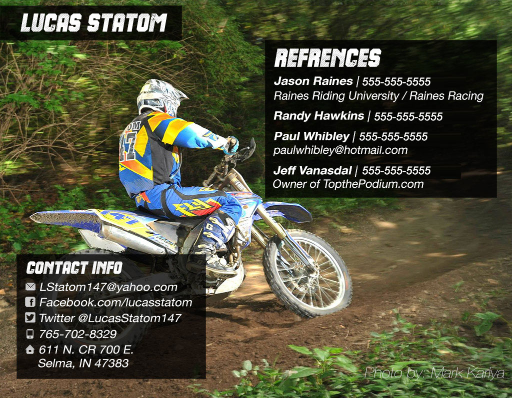 motocross sponsorship resumes