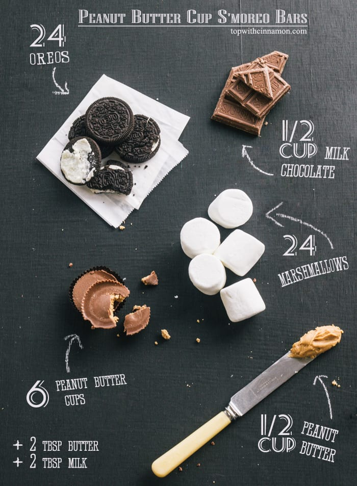 Peanut Butter Cup S'moreo Bars -ingredients