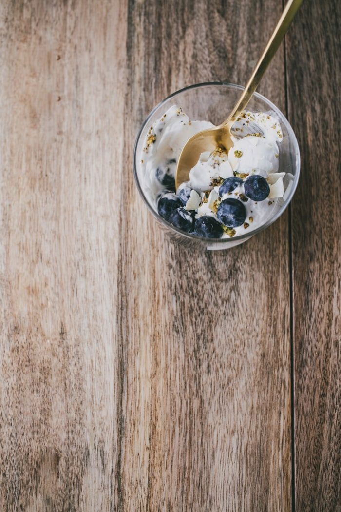 Coconut Milk Ice Cream with a Pistachio Crumb and Blueberries {Vegan + Gluten Free}