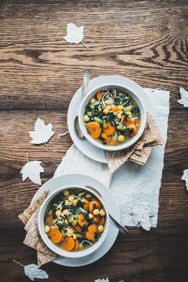 Healing Green Tea & Chickpea Soup with Garlic Tortilla Triangles
