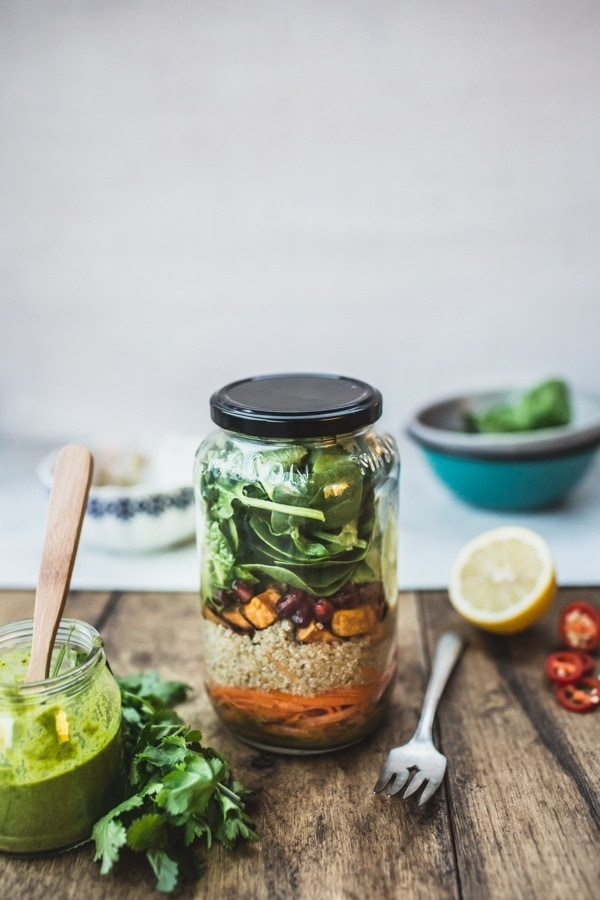 Mason Jar Quinoa Salad with Green Thai-Style Dressing (GF and Vegan) - Perfect for lunch on the go!