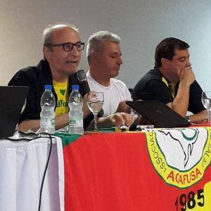 Daniel Pomeroy, Adilson Mattos e Élgio Ribas durante Congresso Nacional de Arbitragem de Futsal em Gramado (RS)