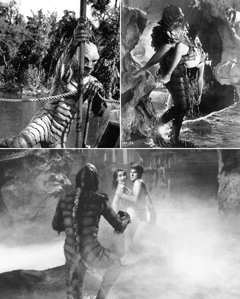 Creature from the Black Lagoon, 1954, motion picture, Universal-International.  (Top, left) After blocking the only exit route out of the Black Lagoon, the Gill Man (Ben Chapman) climbs aboard the Rita to abduct Kay Lawrence (Julia Adams).  (Top, right) The Creature (Ben Chapman) carries an unconscious Kay Lawrence (Julia Adams) to his hidden grotto.  (Bottom) David (Richard Carlson) revives Kay (Julia Adams) just as the Gill Man (Ben Chapman) rises from a nearby pool to attack him. Click to enlarge.