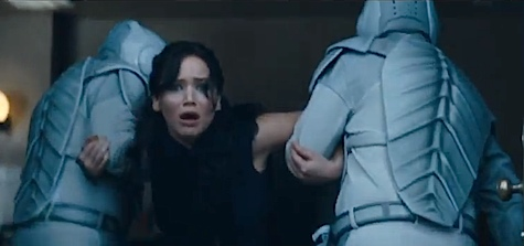 Catching Fire teaser trailer MTV Movie Awards Katniss Everdeen Jennifer Lawrence Peeta Mellark Josh Hutcherson Plutarch Heavensbee Philip Seymour Hoffman District 11 Gale Hawthorne Liam Hemsworth Gale Katniss kiss