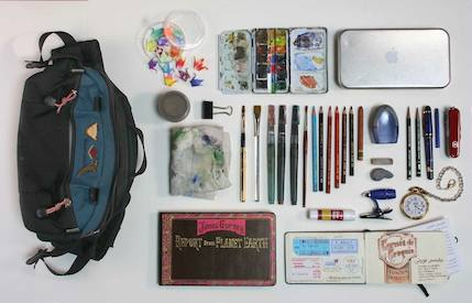 Gurney's art bag at Tor.com Art Department
