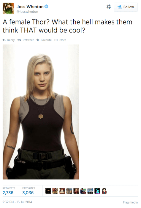 New Thor, Joss Whedon tweet, Starbuck