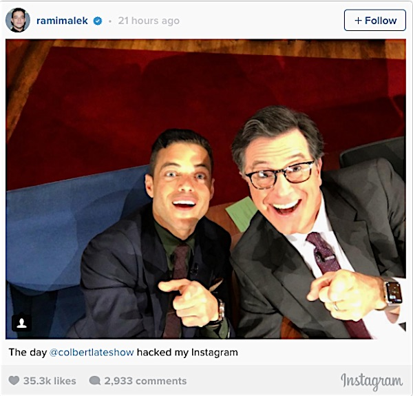 Rami Malek poses with Stephen Colbert