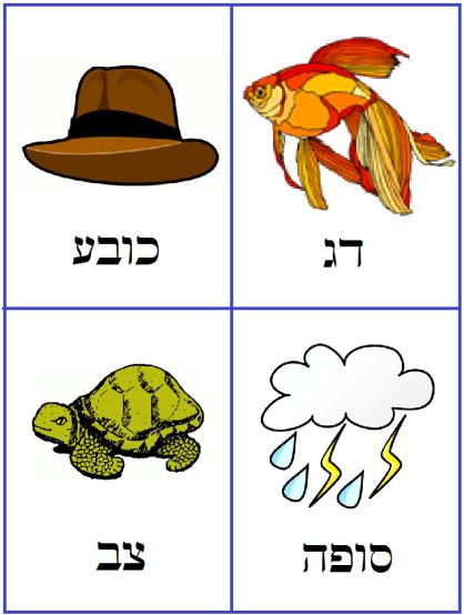 Hebrew vocabulary cards