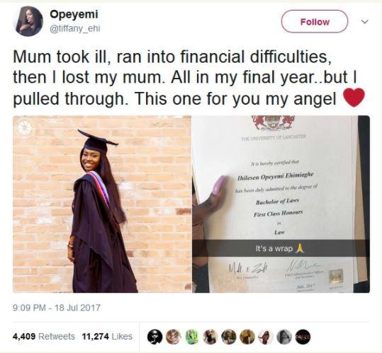 Nigerian Lady In UK, Opeyemi Bags First Class Degree In Law