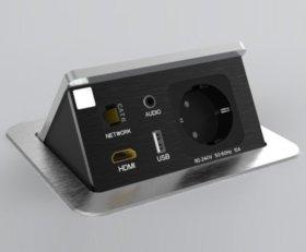 Blocco portaprese a scomparsa a 1 presa + 1 presa dati + 1 HDMI + 1 USB 5V + 1 jack audio (mod. BP0)