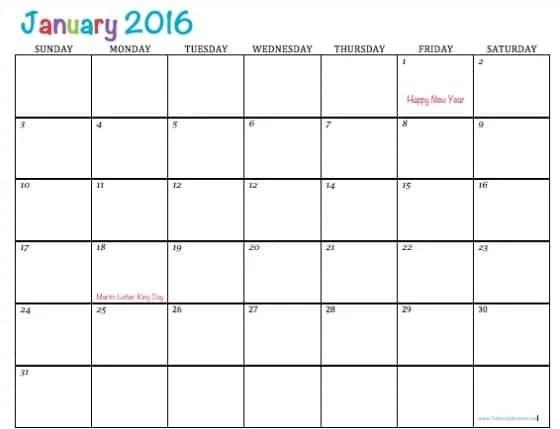 Free Printable 2016 Calendars - free printable calendar