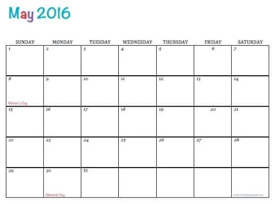 Free Printable Calendar May 2016 - free printable calendar