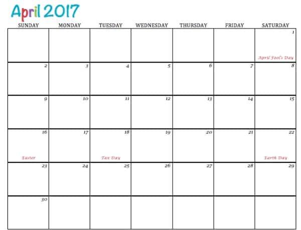 Free Printable Calendar April 2017 - To Simply Inspire - printable calendar