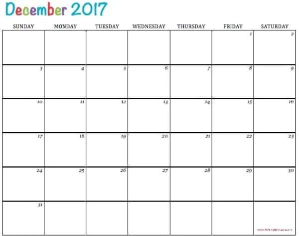 Free Printable Calendar December 2017 - To Simply Inspire - free printable calendar