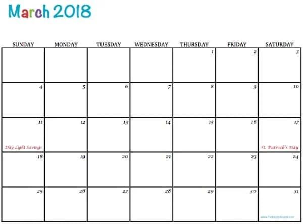 Free Printable 2018 Calendars - To Simply Inspire - printable calendar