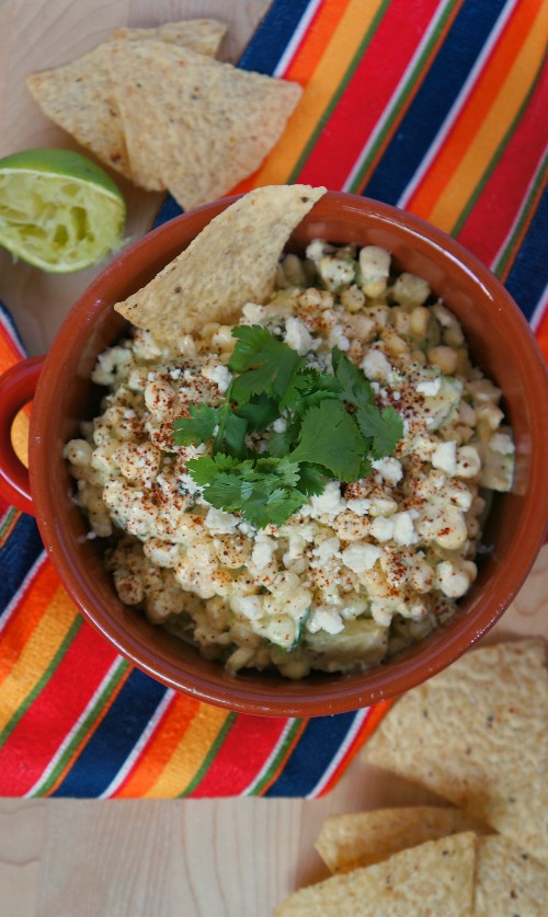 Elote Avocado Corn Dip-Mexican Street Corn in a Bowl from Honey and ...