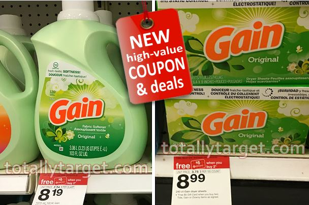 target shoppers stock up on gain laundry detergent for as low as 369 this week with printable coupons and target gift card